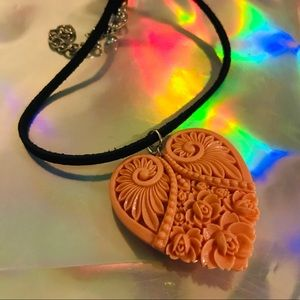 Heart choker vintage leather necklace kitten cat